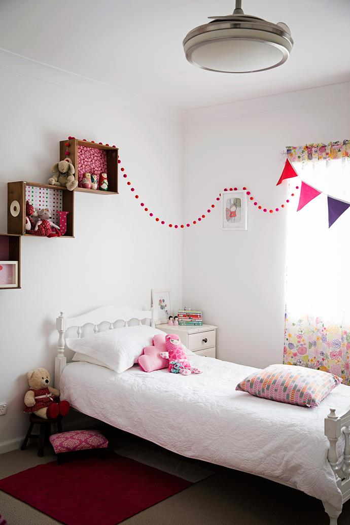 The wooden box shelves in Jessica's room are made from the drawers of an old wardrobe. The bed was once Dianne's.