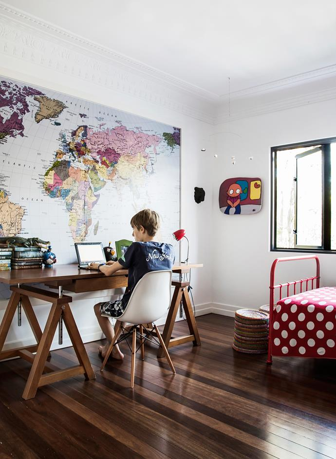 "Max, in his clutter-free yet cosy bedroom, works at a desk bought in the US. **Bed** from [Incy Interiors](http://www.incyinteriors.com.au/?utm_campaign=supplier/|target=""_blank""). **Artwork** by Stuart Carrier. World map **wallpaper** from [Wallpaper Shop](http://www.wallpapershop.com.au/?utm_campaign=supplier/