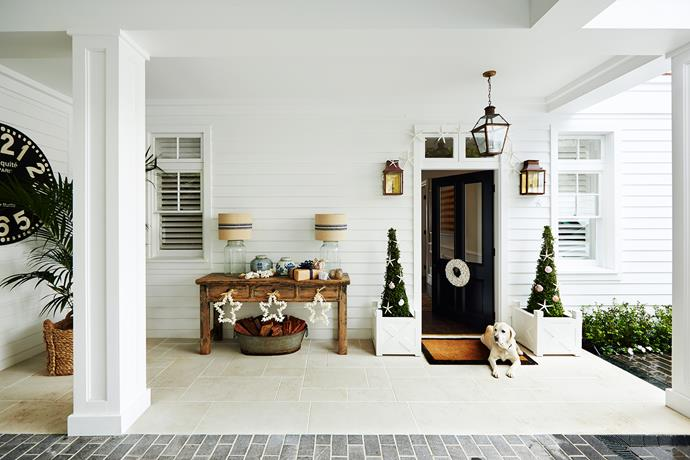 """Living on the beach has changed what we do over Christmas,"" says homeowner Lynda Kerry. She'll be decking the halls with hydrangea blooms and seaside references such as cockle shell wreaths."