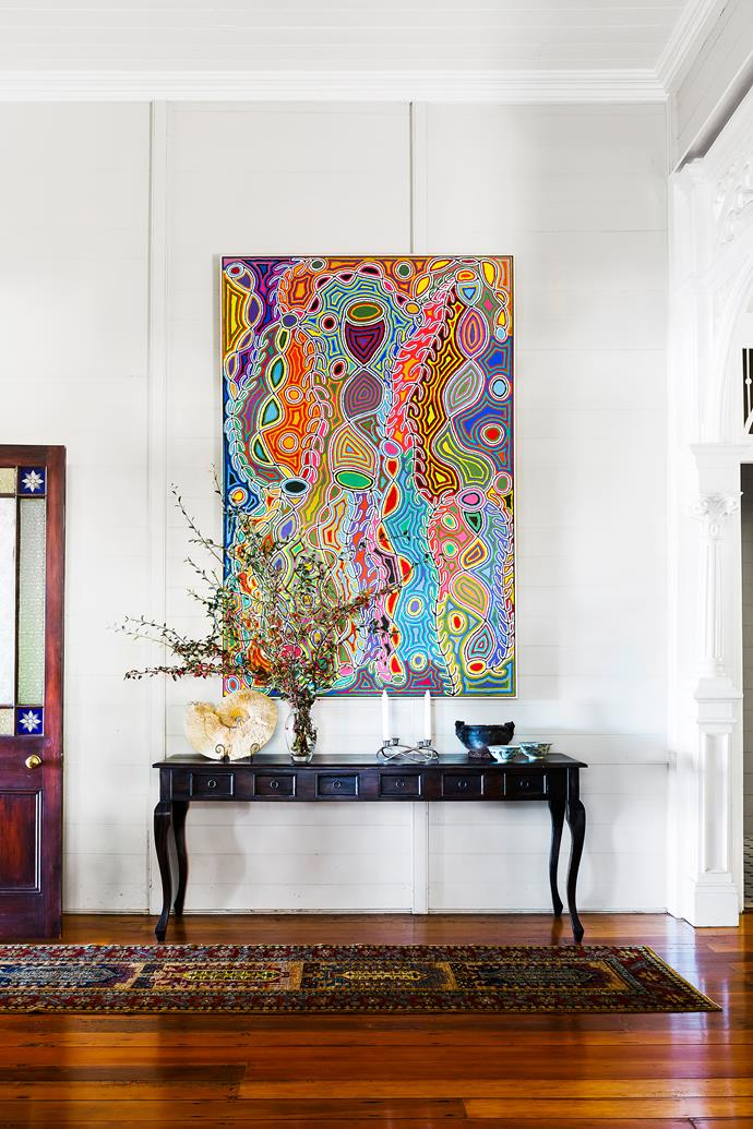 """A vibrant artwork by [Judy Watson Napangardi](http://www.kateowengallery.com/?utm_campaign=supplier/