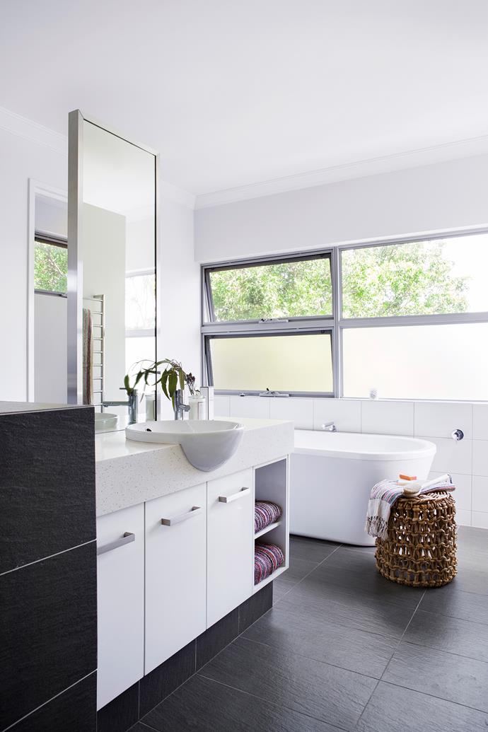 """Clean-lined efficiency is the theme in this light-filled bathroom. **Basin** from [Caroma](http://www.caroma.com.au/?utm_campaign=supplier/