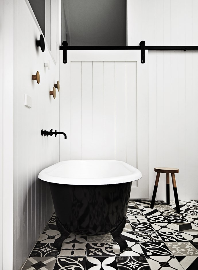 """An unexpected hit of pattern is delivered in the monochromatic tiles from [Bespoke Tile & Stone](http://www.bespoketileandstone.com/?utm_campaign=supplier/