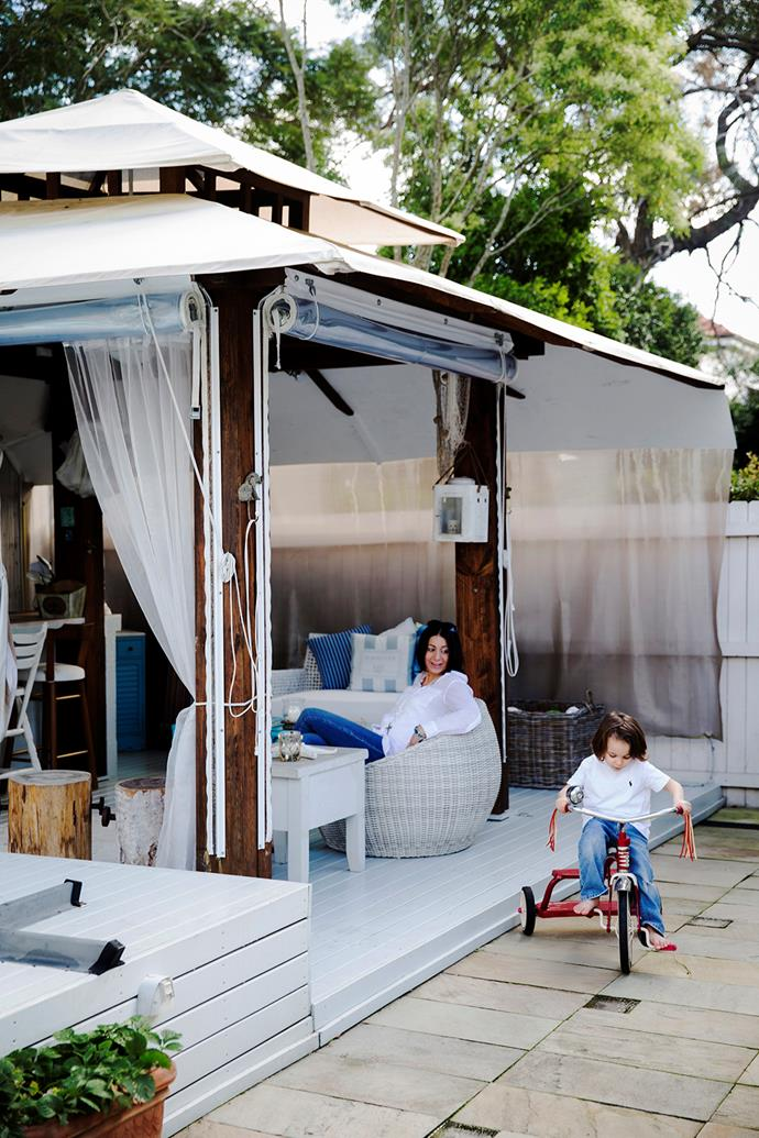 The cabana can be used year-round and features a bar, fridge and a range of built-in and portable seating options.