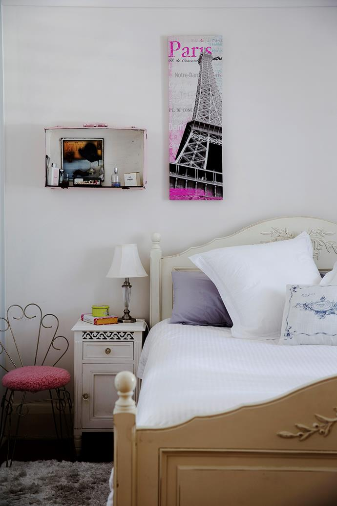 Upcycled objects fit in well with the master bedroom's French-inspired theme.