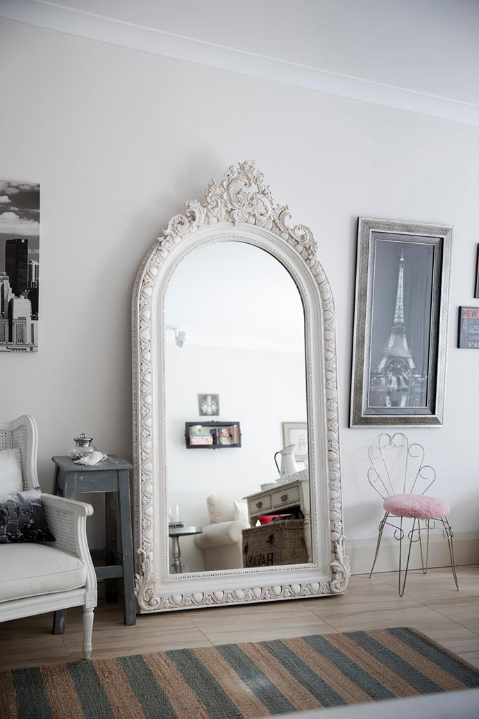 The large French mirror in the dining room was a special gift from Christiana's mother when the house was first bought.