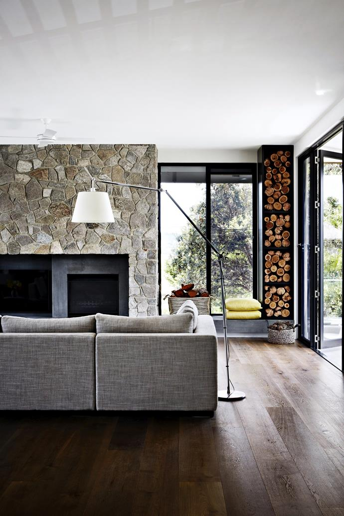 """The chimneybreast, made from the same local stone used elsewhere, has been extended to accommodate a niche for the television. Ali **armchairs**, [Lounge Designer Furniture](http://www.lounge.net.au/?utm_campaign=supplier/