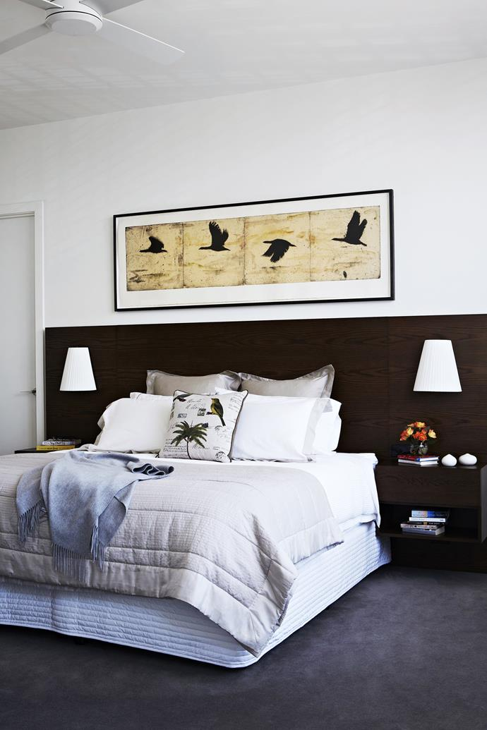 "A Raw bed from [Zuster](http://zuster.com.au/?utm_campaign=supplier/|target=""_blank"") was adapted to incorporate the bedside lights. GX wall **lights**, [Ism Objects](http://www.ismobjects.com.au/?utm_campaign=supplier/