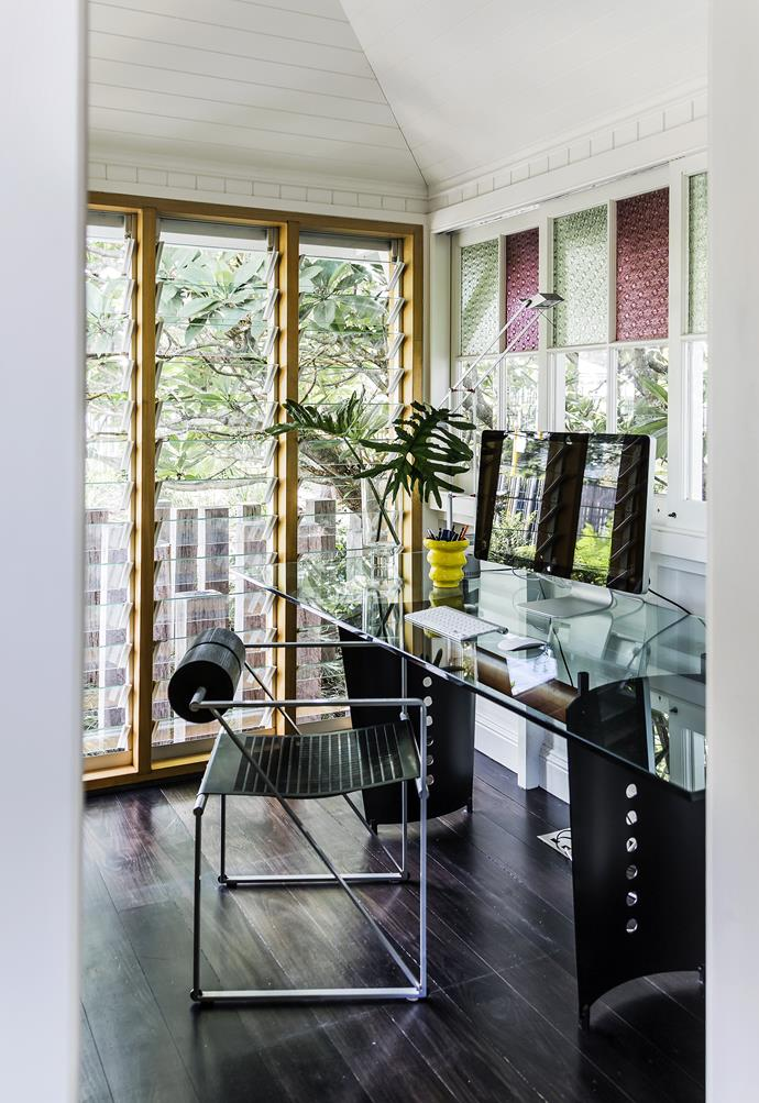 """Original windows are a decorative feature in Con's office, which is located in a quiet corner of the cottage.[Mario Botta](http://www.botta.ch/?utm_campaign=supplier/