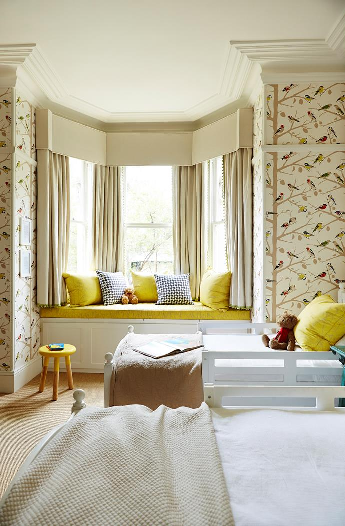A beautiful bay window is the focal point of this bedroom. Photo: John Paul Urizar / bauersyndication.com.au