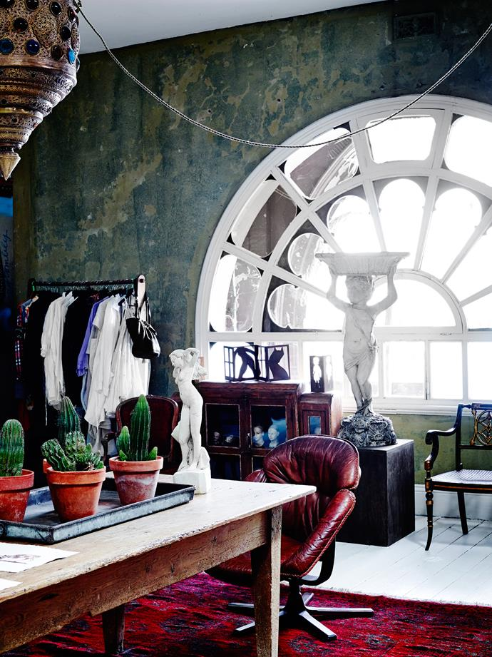 """The dressing room showcases the original arched window visible from the street. Charles Blackman bronze, **cupid** from [Graham Geddes Antiques](http://www.grahamgeddesantiques.com/?utm_campaign=supplier/