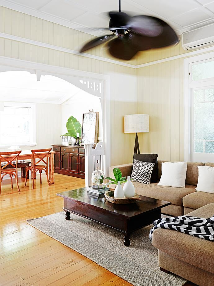 """""""The house is just gorgeous with French doors, leadlight windows, high ceilings and fretwork,"""" Melissa says. She describes the Tahitian fan from [Beacon Lighting](http://www.beaconlighting.com.au/?utm_campaign=supplier/ target=""""_blank"""") as the feature of the room."""