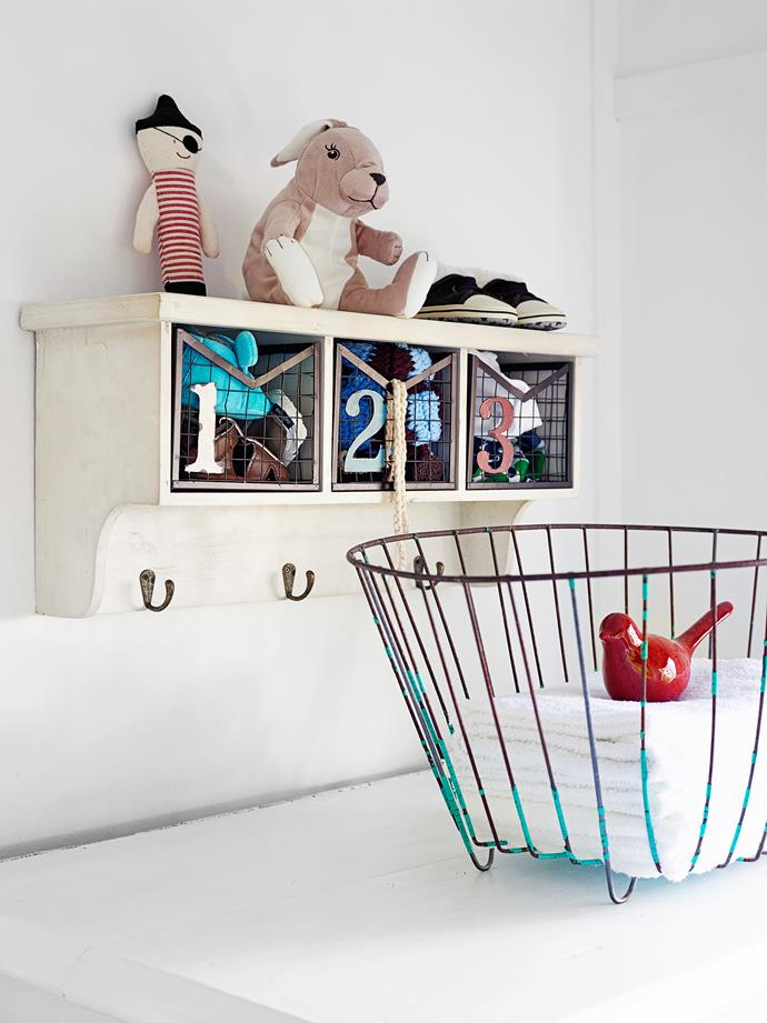 The wire basket with cloth nappies was another of Melissa's salvage finds.