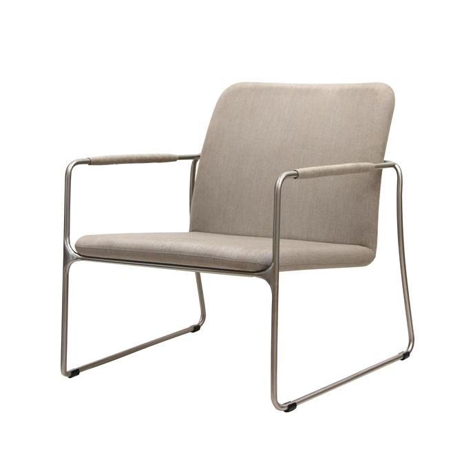 "Pucket **armchair** upholstered with a stainless-steel frame and quality foam cushioning in Sunbrella fabric, $737, [Satara](www.satara.com.au/?utm_campaign=supplier/|target=""_blank"")"