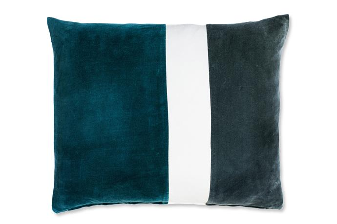 "Petrol blue works well against crisp white, adding a bright touch to the shadowy tones. Enterprise velvet **cushion** in Ocean with feather insert (50x60cm) from [Eadie Lifestyle](http://www.eadielifestyle.com.au/?utm_campaign=supplier/|target=""_blank"")."