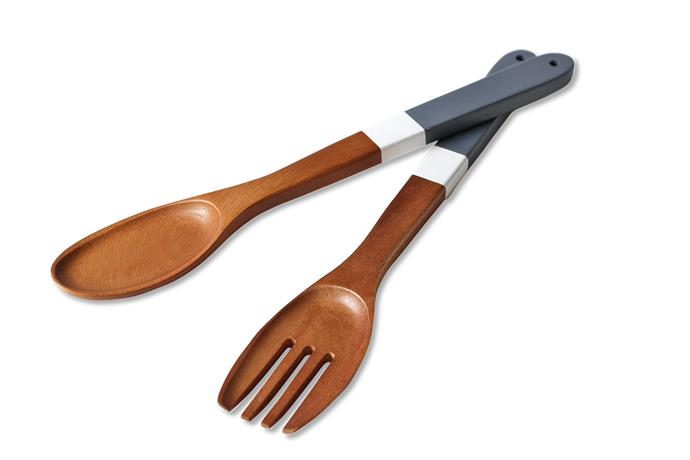 "Serve salad in style with these dipped wooden **servers** in Petroleum/White from [Few and Far](http://www.fewandfar.com.au/?utm_campaign=supplier/|target=""_blank"")."
