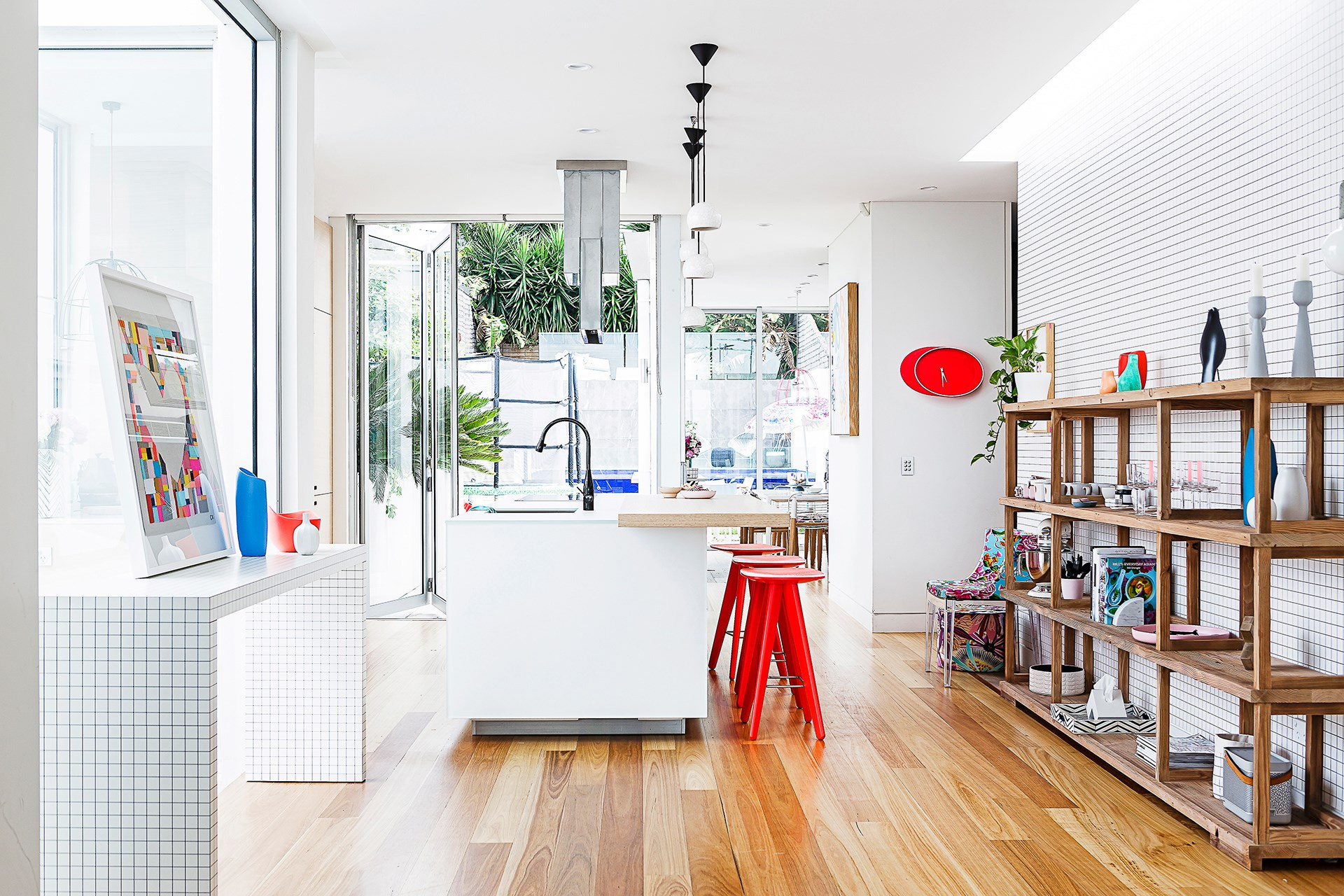 """In [this colourful family townhouse](http://www.homestolove.com.au/gallery-amys-playful-family-townhouse-2637