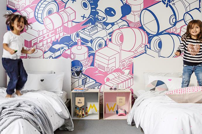 """Morgan's room features a Stephen Chan """"Traffic"""" mural from [Milton & King](https://au.miltonandking.com/?utm_campaign=supplier/