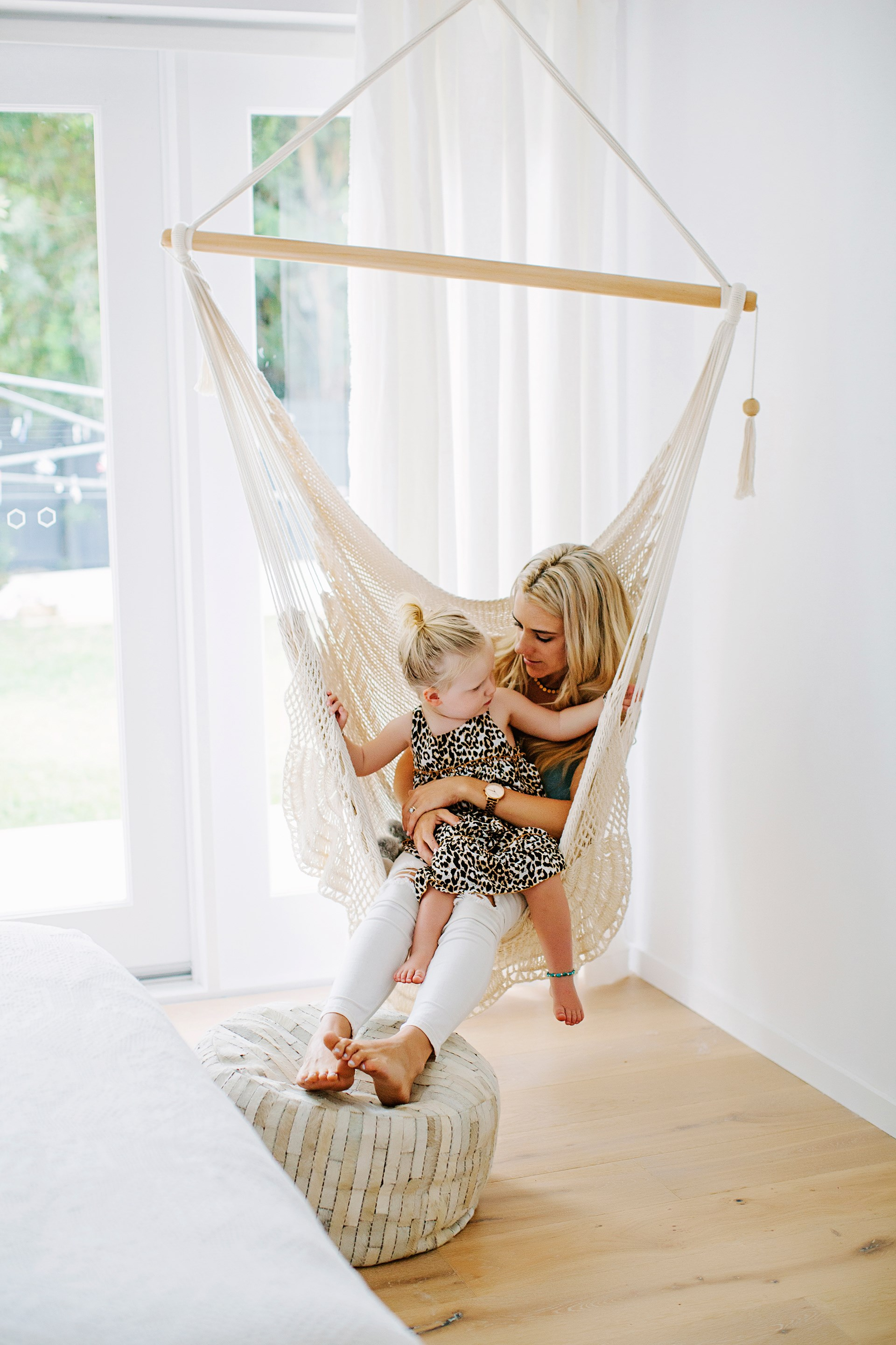 "A swing chair is purpose-built for relaxation, and is just the place to cuddle up with a little one (or a book). Inexpensive to buy and easy to hang from a timber beam or verandah rafter, it could be your new go-to spot for time out. This swing chair hangs in a corner of the main bedroom. See more of this [Sunshine Coast home](http://www.homestolove.com.au/sarah-and-lukes-shining-star-on-the-sunshine-coast-2647/|target=""_blank""). Photo: Josette Van Zutphen 