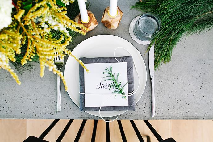 "Like the interior style of her home, Sarah has chosen a natural, textured look for her Christmas table settings, with touches of timber and fresh foliage to complement the concrete tabletop. Hide **coaster** from [Mr & Mrs White](http://www.mrandmrswhite.net/?utm_campaign=supplier/|target=""_blank"")."