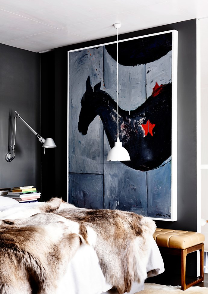 """The bedroom is dominated by an artwork by Fiona McKerrell. Fur **throw** from [Great Dane Furniture](http://www.greatdanefurniture.com/?utm_campaign=supplier/