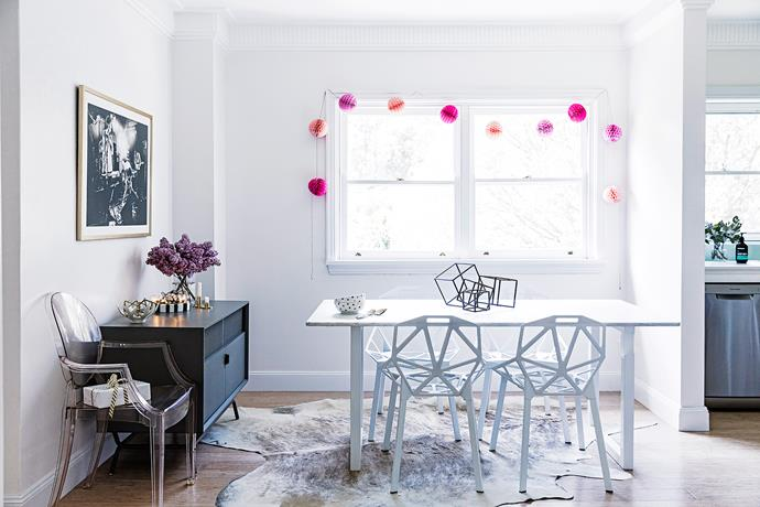 """Comfy chairs and a large table were a must for the couple's first real dining room. Claudia found the marble tabletop on [Gumtree](http://www.gumtree.com.au/?utm_campaign=supplier/