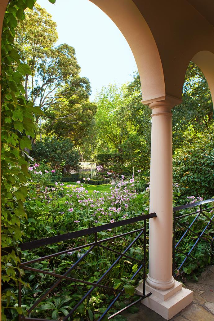 The vista from the home's colonnaded verandah to the front garden. Many of the original plants were simply replanted in different positions including the camellia at right, now placed beside a cloud of pink anemones.