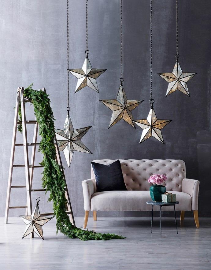 """Hang large-scale lanterns for a grand gesture. From left: faux-fir **garlands** (160cm), $37/each, from [Florabelle](http://www.florabelle.com.au/?utm_campaign=supplier/
