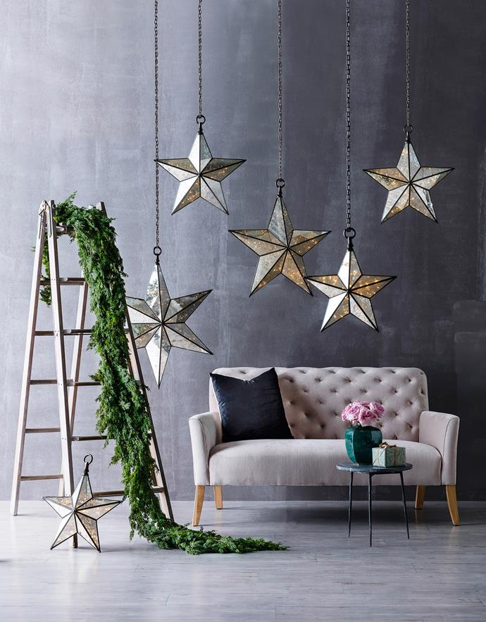 "Hang large-scale lanterns for a grand gesture. From left: faux-fir **garlands** (160cm), $37/each, from [Florabelle](http://www.florabelle.com.au/?utm_campaign=supplier/|target=""_blank""), French industrial **ladder**, $1250, from [Elements I Love](http://elementsilove.com/?utm_campaign=supplier/