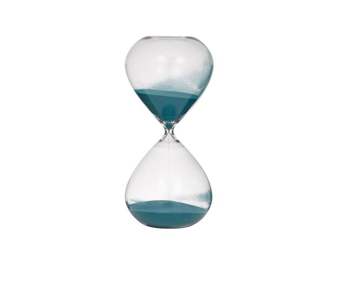 "This hourglass adds a sense of fun to your home, its playfulness balanced with the dark colour of the sand. As Time Goes By 90-minute **hourglass** from [Amalfi](http://www.amalfihomewares.com.au//?utm_campaign=supplier/|target=""_blank"")."