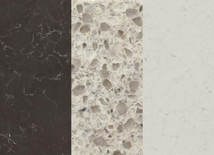 "Left to right: [Caesarstone](http://www.caesarstone.com.au/?utm_campaign=supplier/|target=""_blank"") in Piatra Grey, $1000 a sq m. [Essastone](http://www.essastone.com.au/?utm_campaign=supplier/
