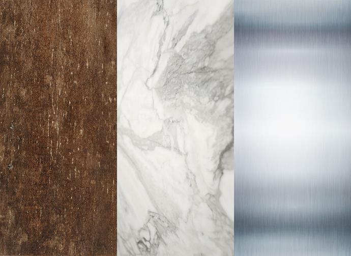 "Left to right: Recycled timber from [Colonial Trading Company](http://colonialtrading.com.au/?utm_campaign=supplier/|target=""_blank""). Honed Calcutta marble, from $750 a sq m, [CDK Stone](http://www.cdkstone.com.au/?utm_campaign=supplier/