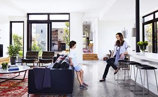 Polished concrete living room