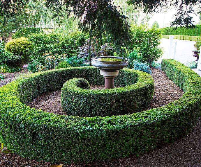 A spiral-shaped hedge leads to a bird bath.
