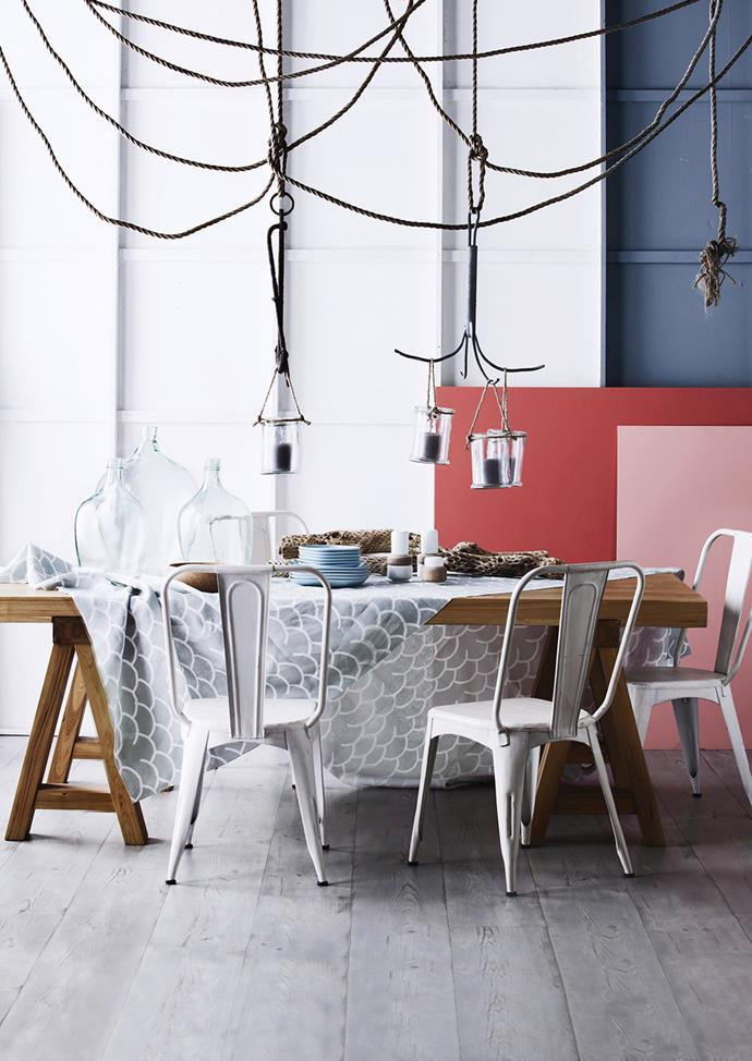 """Cast around for rope, nets and lanterns to infuse memorable marine elements into your living spaces. These whimsical details keep the mood buoyant, and add fun to entertaining areas. Glass hanging hurricane **lanterns** from [Loft Furniture](http://www.loftfurniture.com.au/
