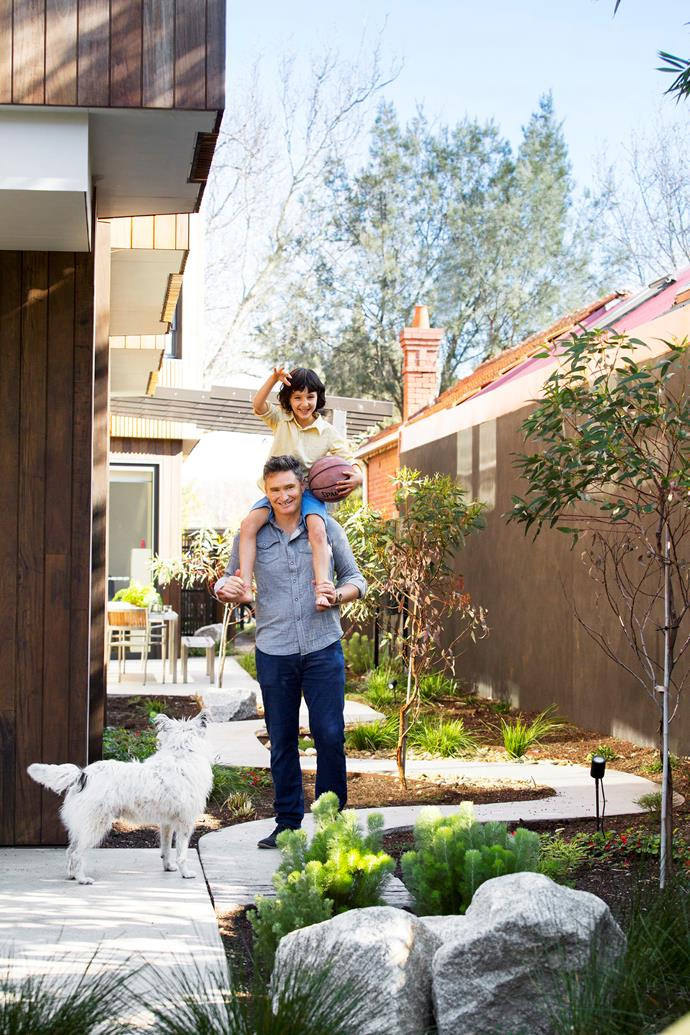 Dave Hughes, his son Rafferty and the family's terrier-cross Barkly play in the backyard. Landscaping by Katherine Rekaris with Ash Middlin Landscape Construction.