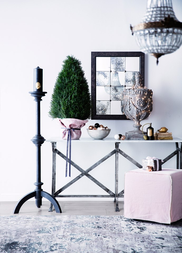 """Combine dusty pink, emerald green and gold for a sophisticated palette with plenty of spark. Axel timber **candleholder**, $890, from [MCM House](http://mcmhouse.com/?utm_campaign=supplier/