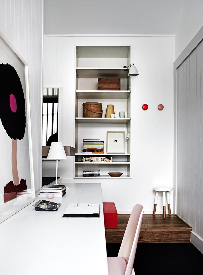 """The smart, contained study space introduces slices of muted colour and a [David Band](http://www.davidband.com.au/?utm_campaign=supplier/