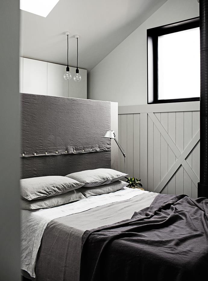 """The linen-covered headboard started life in another iteration for a previous house, but has now become beautifully integrated into the master bedroom. Most of the house has been painted in [Dulux](http://www.dulux.com.au/?utm_campaign=supplier/