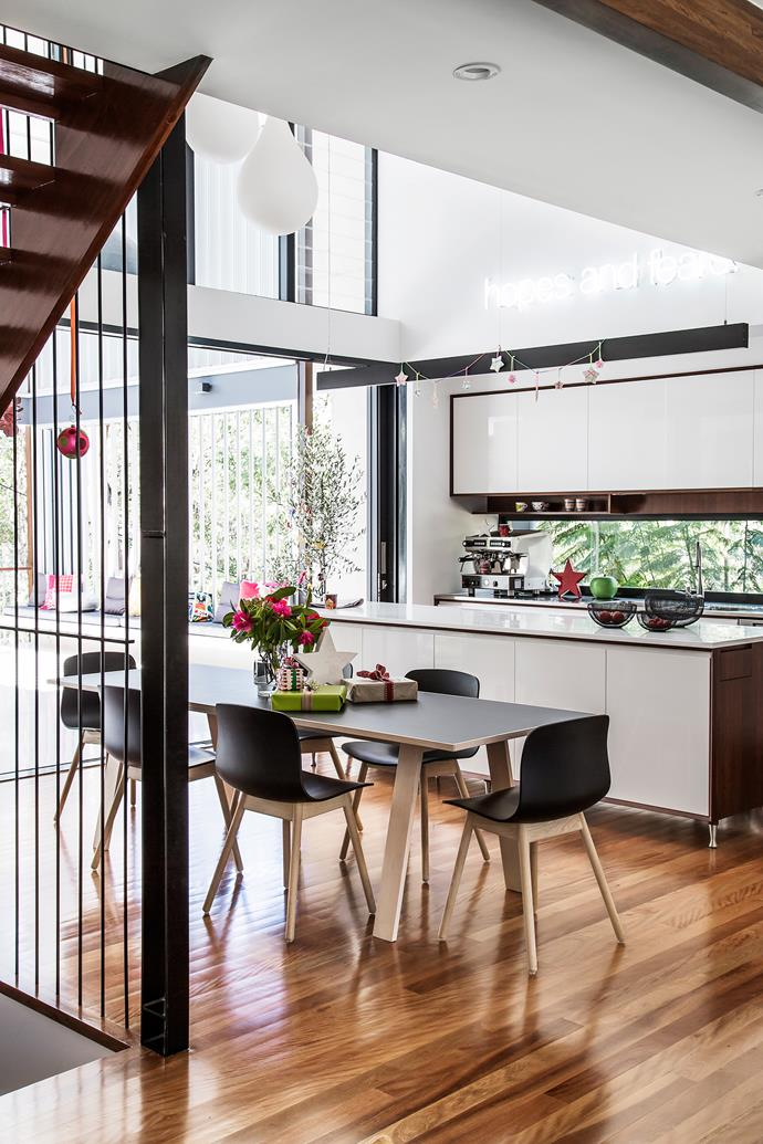 "Foodies Kylie and Anthony wanted a larger kitchen/dining area. The double-storey void adds height and a sense of space to the room. Two-pack polyurethane doors and drawers painted in [Resene](http://www.resene.com.au/?utm_campaign=supplier/|target=""_blank"") half-strength Alabaster. Turpentine veneer **cabinetry** from [Briggs](http://www.briggs.com.au/?utm_campaign=supplier/