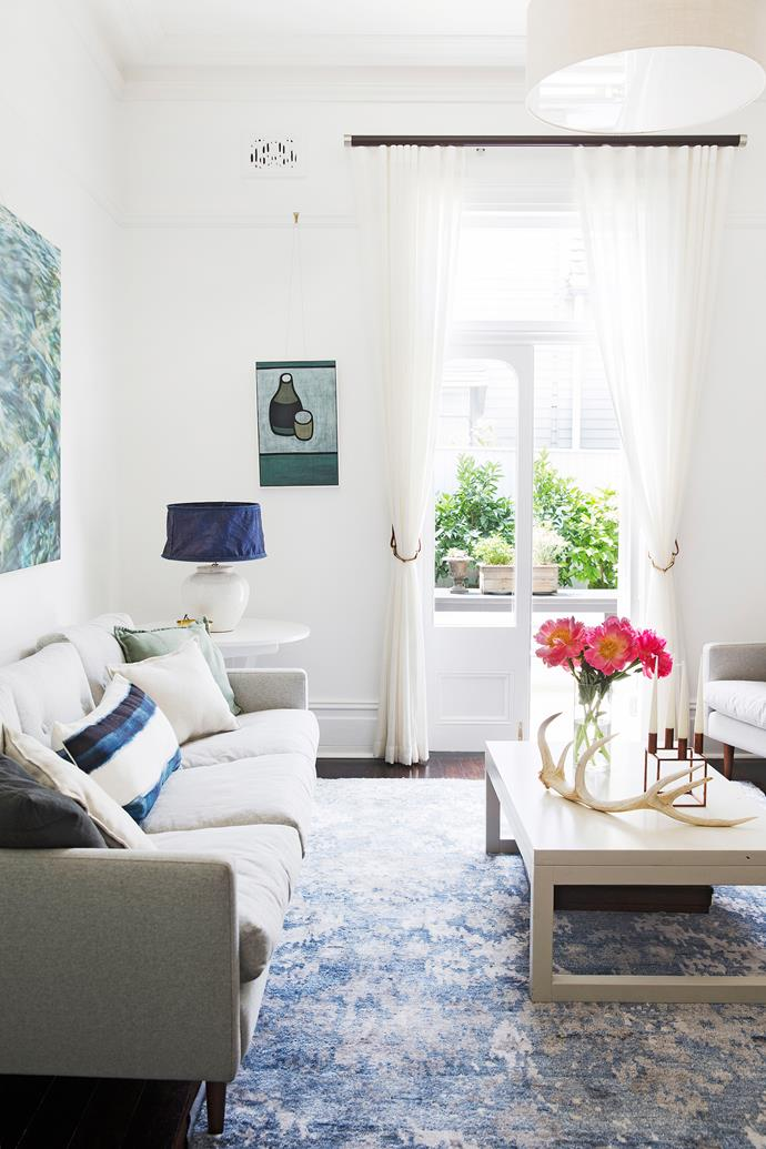"""This north-facing formal living room, in the original front part of the cottage, is a favourite spot for relaxing. Shibori **cushion** from [Emily Ziz Style Studio](http://www.emilyziz.com/?utm_campaign=supplier/