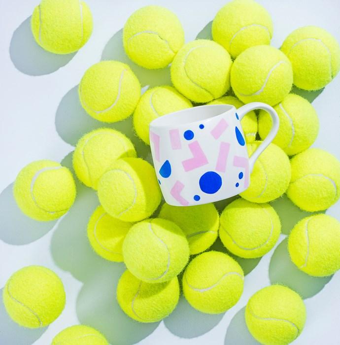 "Dwell **mug**, $10 for set of 4, [Target](http://www.target.com.au/?utm_campaign=supplier/|target=""_blank""). **Tennis balls**, $10 for pack of 15, [Kmart](http://www.kmart.com.au/?utm_campaign=supplier/|target=""_blank""). **Paint** [Dulux](http://www.dulux.com.au/consumer-home.aspx/?utm_campaign=supplier/|target=""_blank"") Wash & Wear in Atelier (background), $45.90 for 1L."