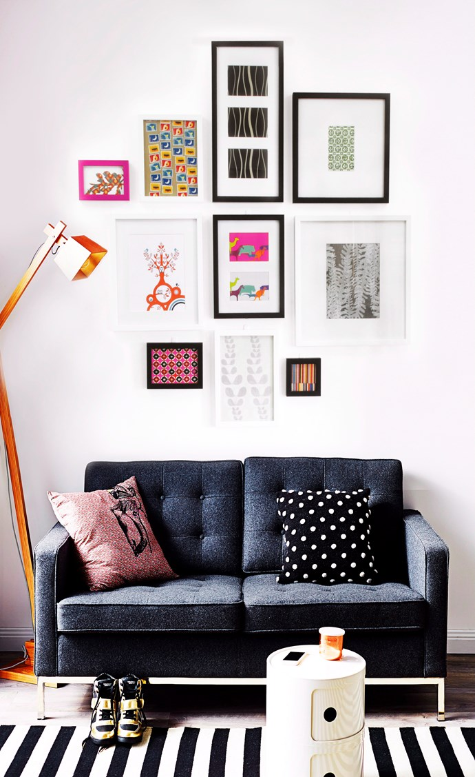 "[Learn how to hang artwork](http://www.homestolove.com.au/how-to-hang-artwork-2203|target=""_blank"") and create an inexpensive gallery wall that has instant wow-factor. Photo: Kristina Soljo / *homes+*"