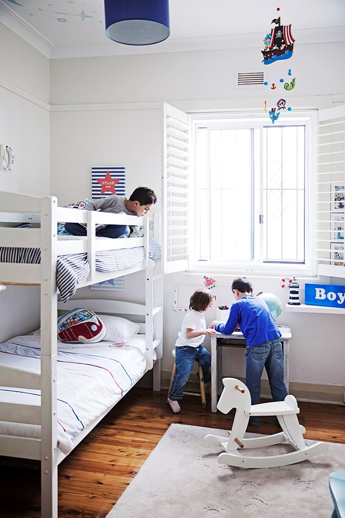 A nautical theme sets the scene for Dylan, seven, Liam, six, and Lachlan, three. Photo: James Henry