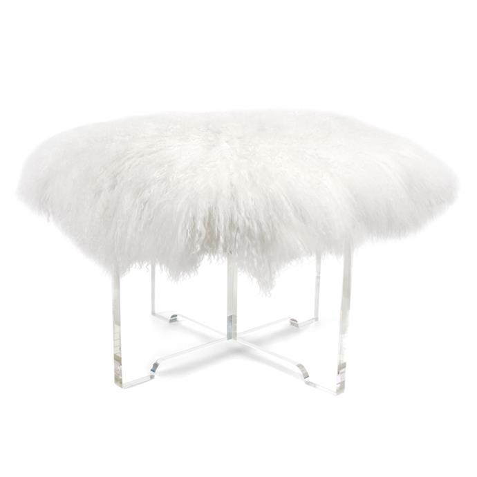 "Jonathan Adler Mongolian lamb **bench**, $2595, from [Coco Republic](http://www.cocorepublic.com.au/|target=""_blank"")."