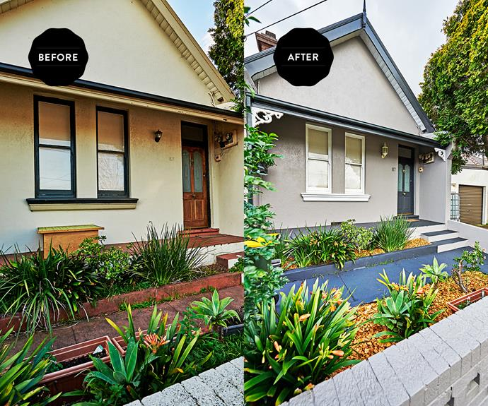 **BEFORE AND AFTER:** The exterior or this house was dated and uninviting. It only took one day to make Cherie's simple changes.