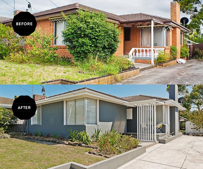 **BEFORE AND AFTER:** This house's biggest problem was the daggy orange brick. The render and repaint job made a word of difference.