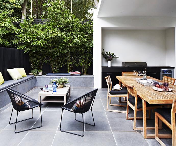 Elegant outdoor alfresco dining area