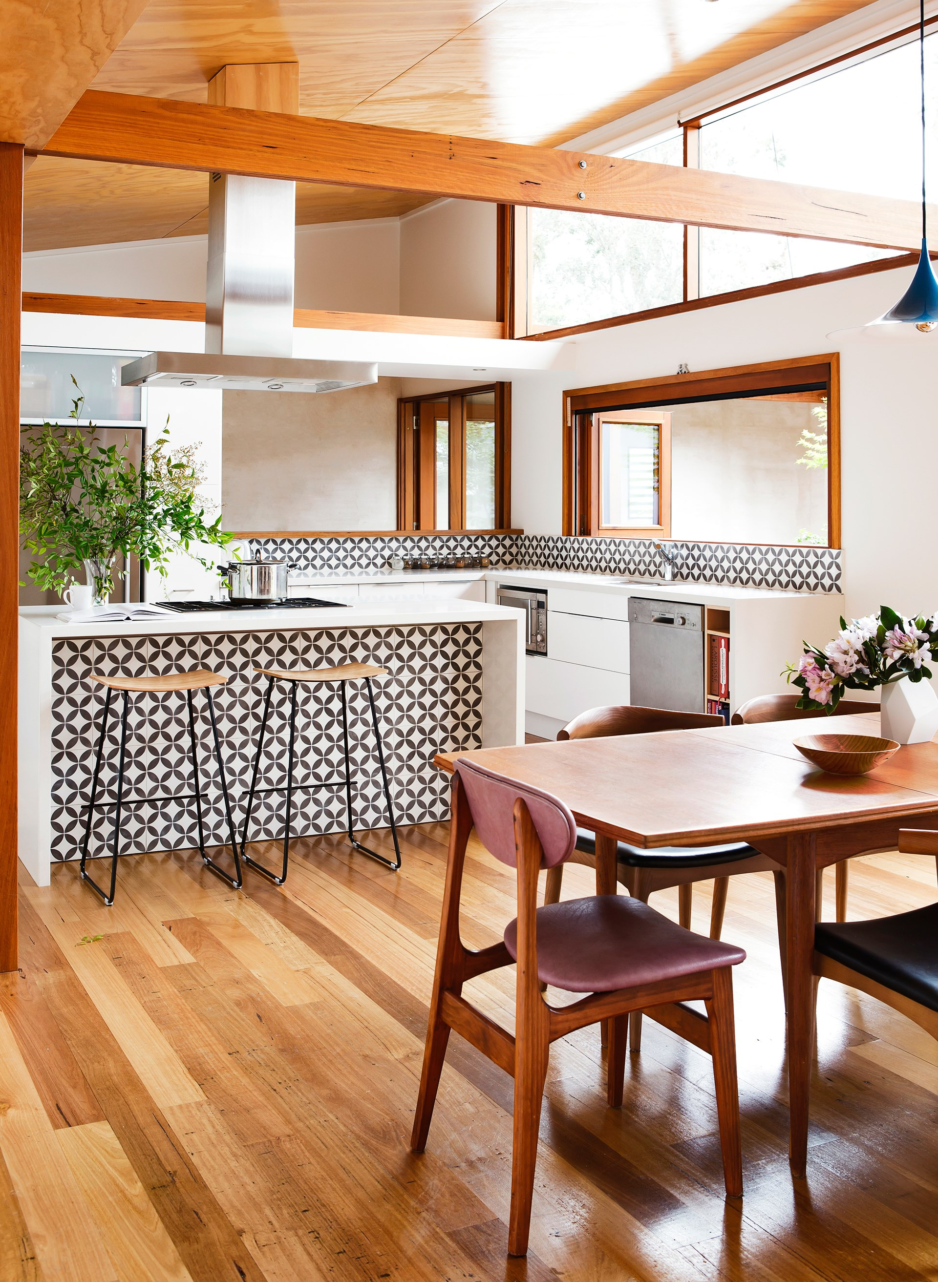 Patterned tiles create graphic interest in the kitchen of this otherwise [earthy coastal sanctuary](http://www.homestolove.com.au/contemporary-coastal-home-provides-the-ultimate-sanctuary-2794). *Photo: Maree Homer*