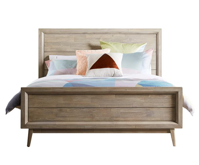 "**Timber Celeste queen bed frame**, from $1299. There's a '60s vibe to this bed, which is constructed from acacia. It comes in queen and king sizes, and matching furniture is available. Bedshed; [www.bedshed.com.au](www.bedshed.com.au/?utm_campaign=supplier/|target=""_blank"")."