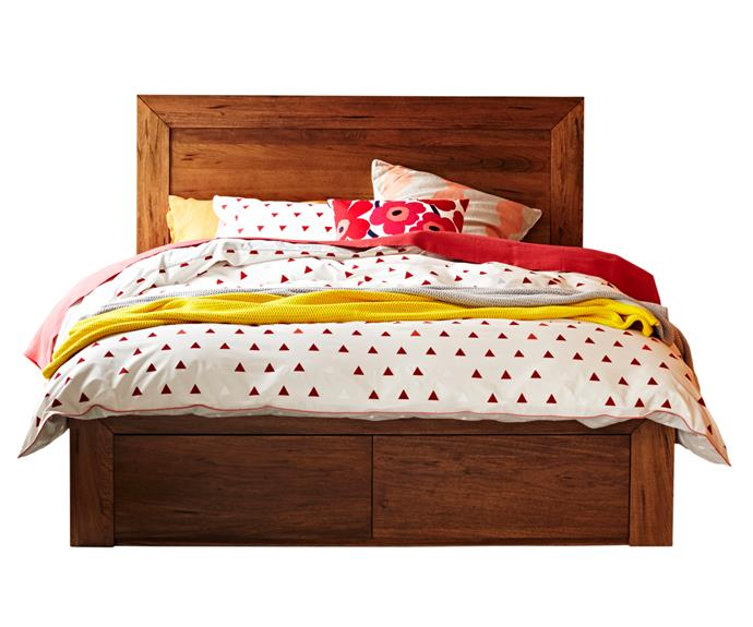 "**Clovelly queen bed frame**, from $1799. The clean lines of the Clovelly bed conceal two bed-end drawers. It's made from solid mountain ash and is available in queen and king. Snooze; (03) 9830 4166 or [www.snooze.com.au](www.snooze.com.au/?utm_campaign=supplier/|target=""_blank"")."